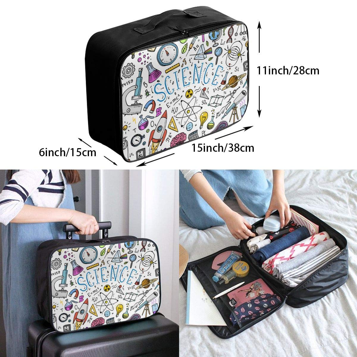 ADGAI Science Canvas Travel Weekender Bag,Fashion Custom Lightweight Large Capacity Portable Luggage Bag,Suitcase Trolley Bag