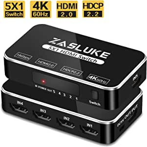 ZasLuke HDMI Switch 5 in 1 Out, HDMI 2.0 Switcher with IR Wireless Remote, Support 4K@60Hz, Full HD 1080P, HDR, HDCP 2.2 for PS4, Nintendo, Xbox 360 and More