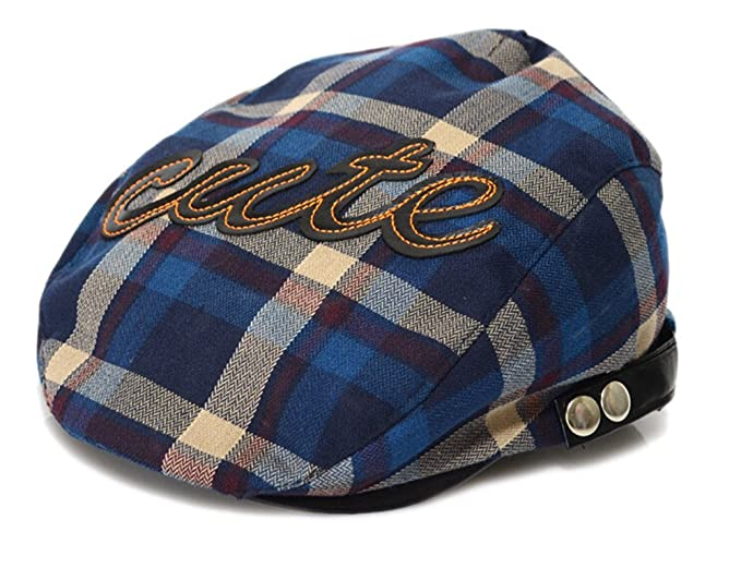 CRAZY Child Baby Flat Cap Hat Newsboy Ascot Peaked Plaid Berets-blue   Apparel  af75eb3c3a7