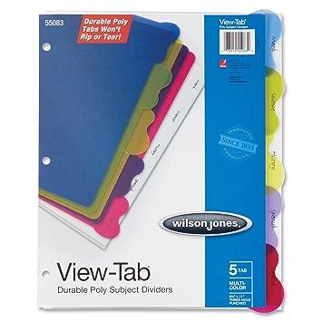 Wilson Jones View-Tab ® Transparente separadores 5-Tab estudiante índice (w55083): Amazon.es: Oficina y papelería