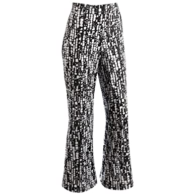 Women's Travel Pants - Black & White Print Elastic Waist Wide Leg ...