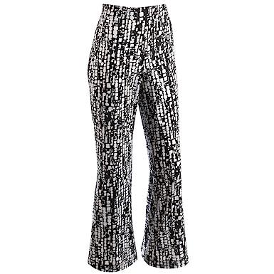 Women's Travel Pants - Black & White Print Elastic Waist Wide Leg ...