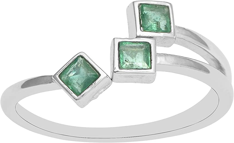 Color Stone Bir Details about  /3 Stone Oval Shape Green Sapphire Ring Set In Sterling Silver