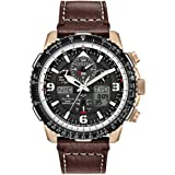 Citizen Mens Solar Powered Watch, Analog Display and Leather Strap JY8076-07E