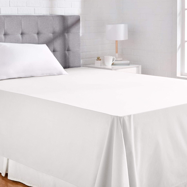 AmazonBasics Everyday - Sábana encimera (100% algodón), 230 x 260 cm - Blanco