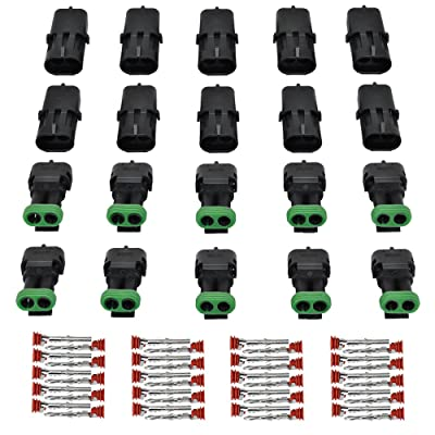 MUYI 10 Kit 2 Pin Way Waterproof Electrical Connector 1.5mm Series Terminals Quick Locking Wire Harness Sockets: Automotive