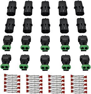 MUYI 10 Kit 2 Pin Way Waterproof Electrical Connector 1.5mm Series Terminals Quick Locking Wire Harness Sockets
