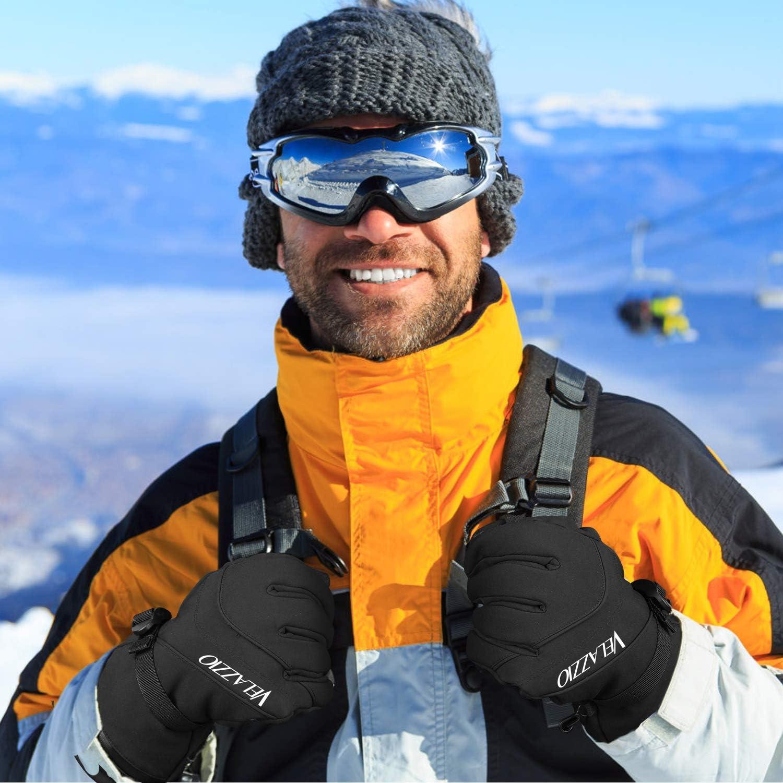Fits both Men /& Women Ski Gloves 3M Thinsulate Insulated Warm Winter Snow Gloves VELAZZIO Waterproof Breathable Snowboard Gloves