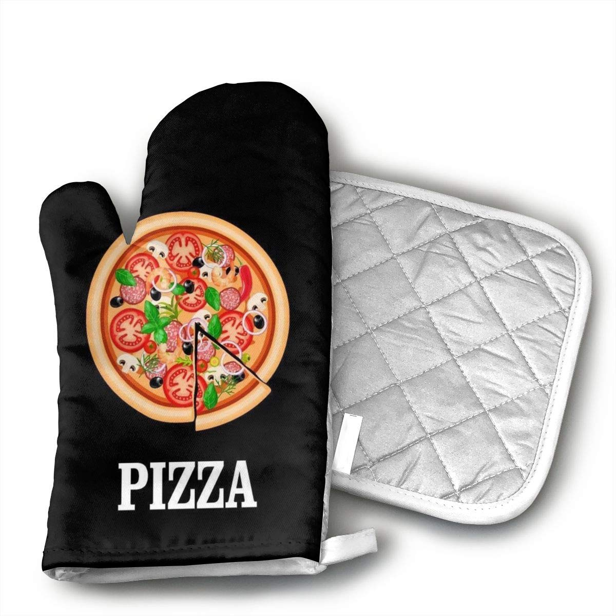 Wiqo9 A Pizza and A Nap Pizza Oven Mitts and Pot Holders Kitchen Mitten Cooking Gloves,Cooking, Baking, BBQ.