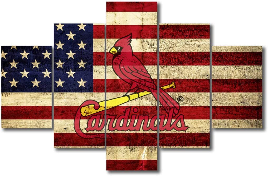 "Wall Decorations for Living Room Sports Rustic Home Decor St. Louis Cardinals Artwork Canvas Paintings Patriotic American Flag House Art Baseball 5 Pieces Posters and Prints Ready to Hang 60""Wx40""H"