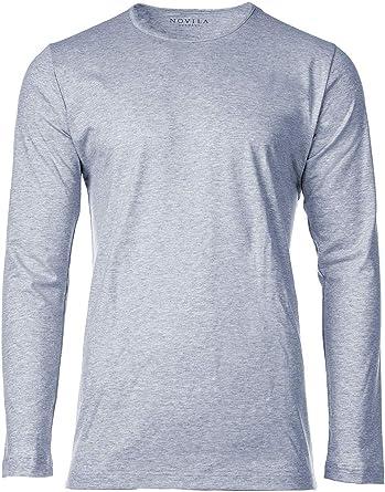 Novila Camiseta de Hombre de Manga Larga - Loungewear, Cuello Redondo, Mangas 1/1, algodón, Azul Claro M (Medium): Amazon.es: Ropa y accesorios