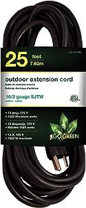 Go Green Power GG-13725BK 16/3 25' Heavy Duty Extension Cord-Black, 25ft