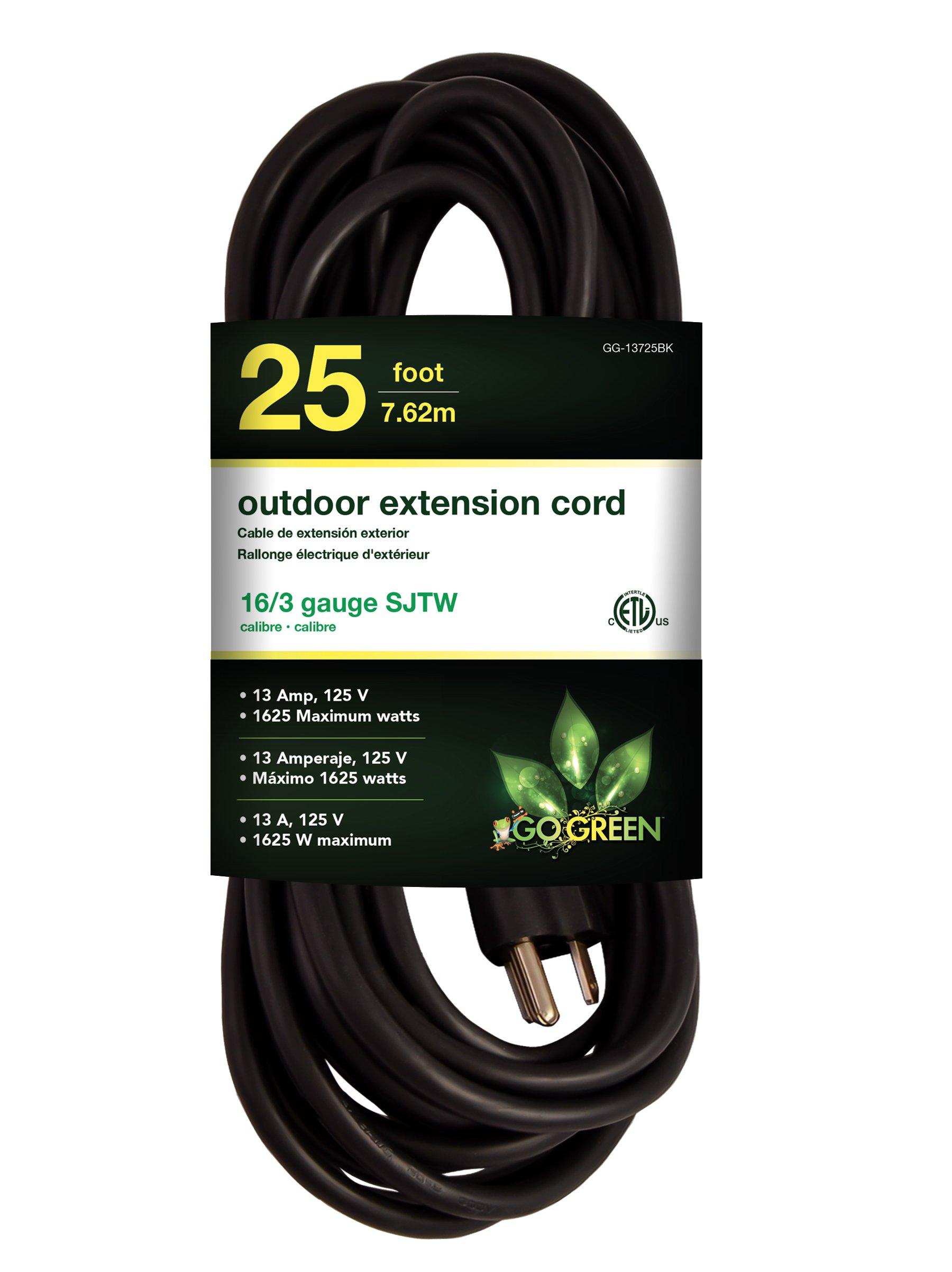 Go Green Power GG-13725BK Go Green Power 16/3 Heavy Duty Extension Cord, 25', Black