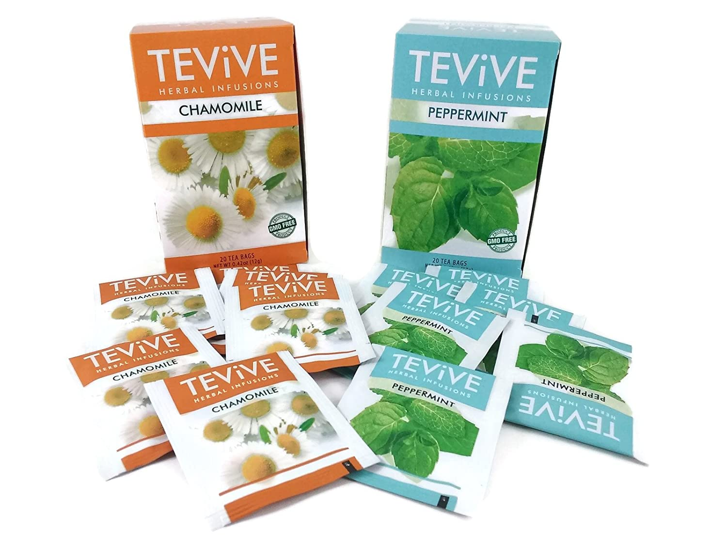 Tevive Peppermint and Chamomile Tea Bundle: One Box Herbal Chamomile Tea, One Box of Peppermint Herbal Tea