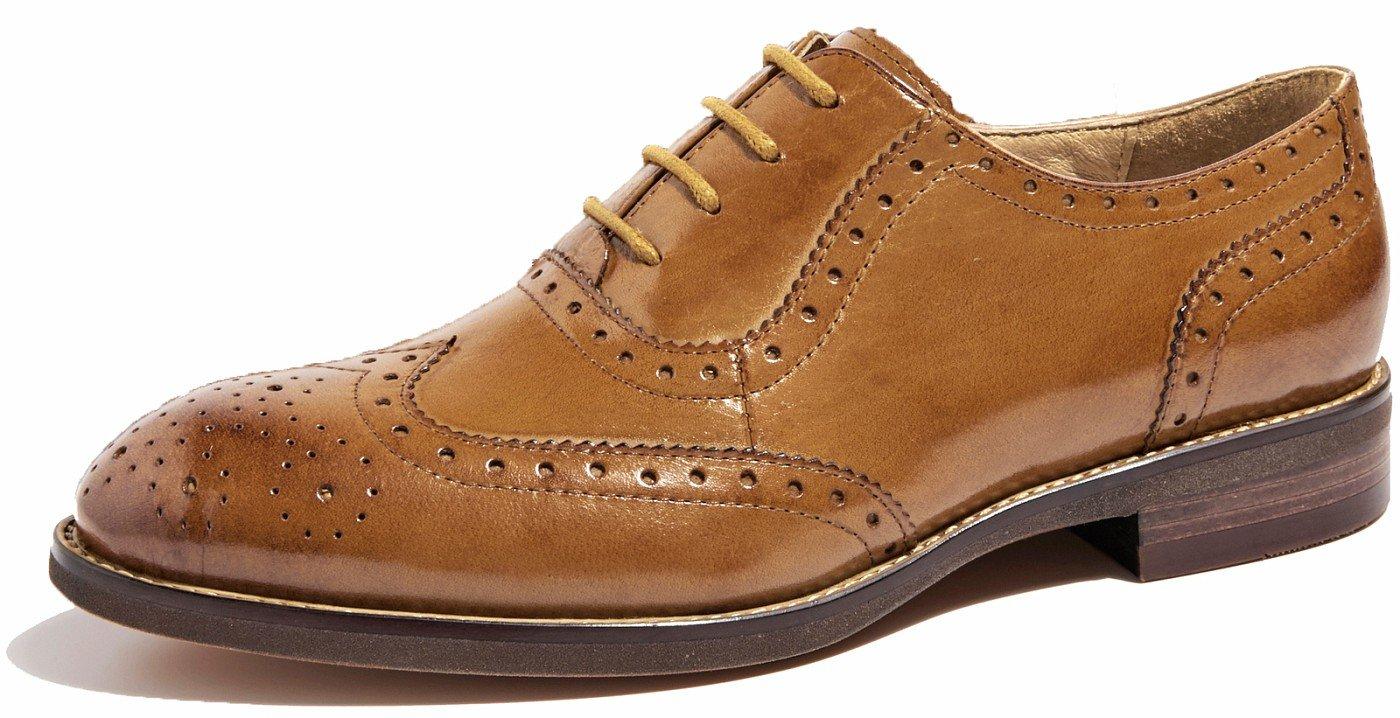 SimpleC mujer perforada con cordones cierre cordones Wingtip Purecolor cuero plana Oxford vintage cómodos zapatos de oficina 36 EU|Marrón-1