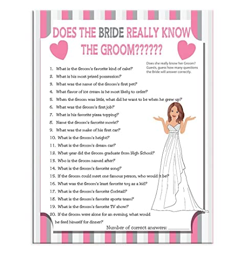 bridal shower game does the bride really know the groom wedding shower game