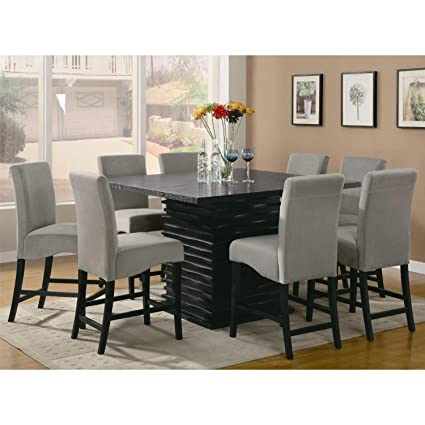 Charmant Stanton Contemporary 9pc Counter Height Dining Set Gray Microfiber Rich  Black Finish