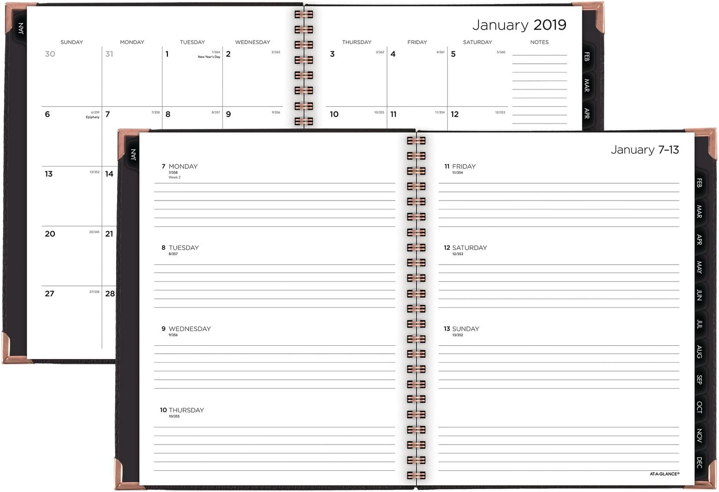 5150B-200 5-1//2 x 8-1//2 Black AT-A-GLANCE 2019 Weekly /& Monthly Planner Small Size Boa