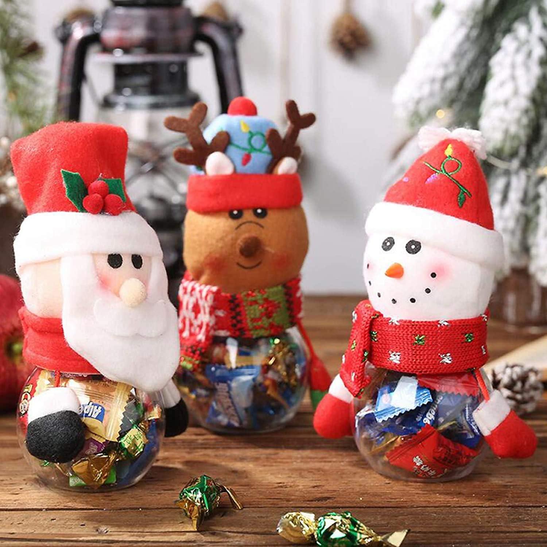 Christmas Candy Jar Food Storage Container Santa Snowman Reindeer Penguin Cute Sugar Box Decorative Bottles Xmas Decor Gift (2, Santa+Reindeer)