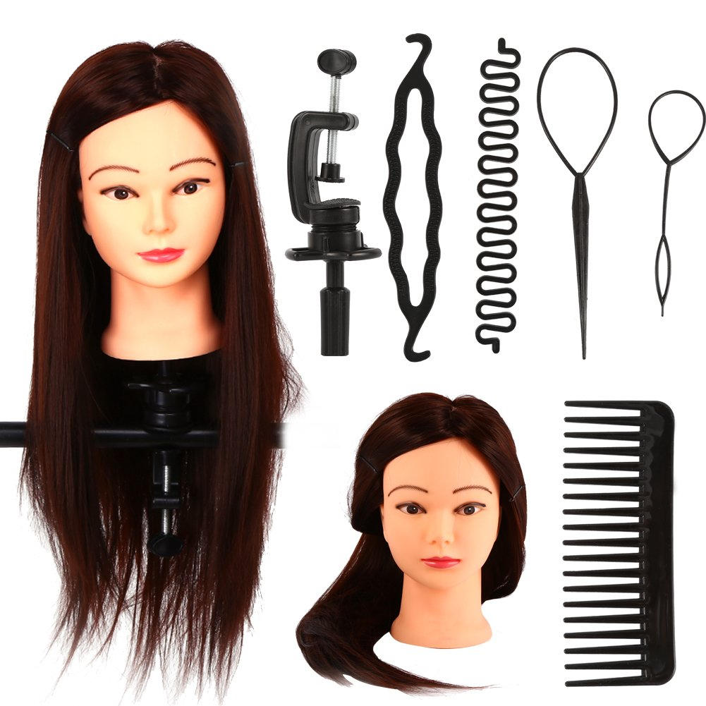 Real Hair Training Model, 20 Long Hair Mannequin Head Hairdresser Practice Kit Set (24=Kit 2#) ZJchao