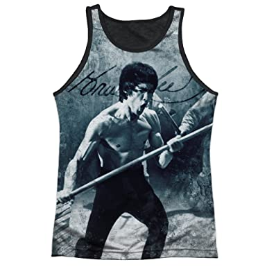 7448c422a26518 Bruce Lee Whoooaa Mens Tank Top Shirt with Black Back (White