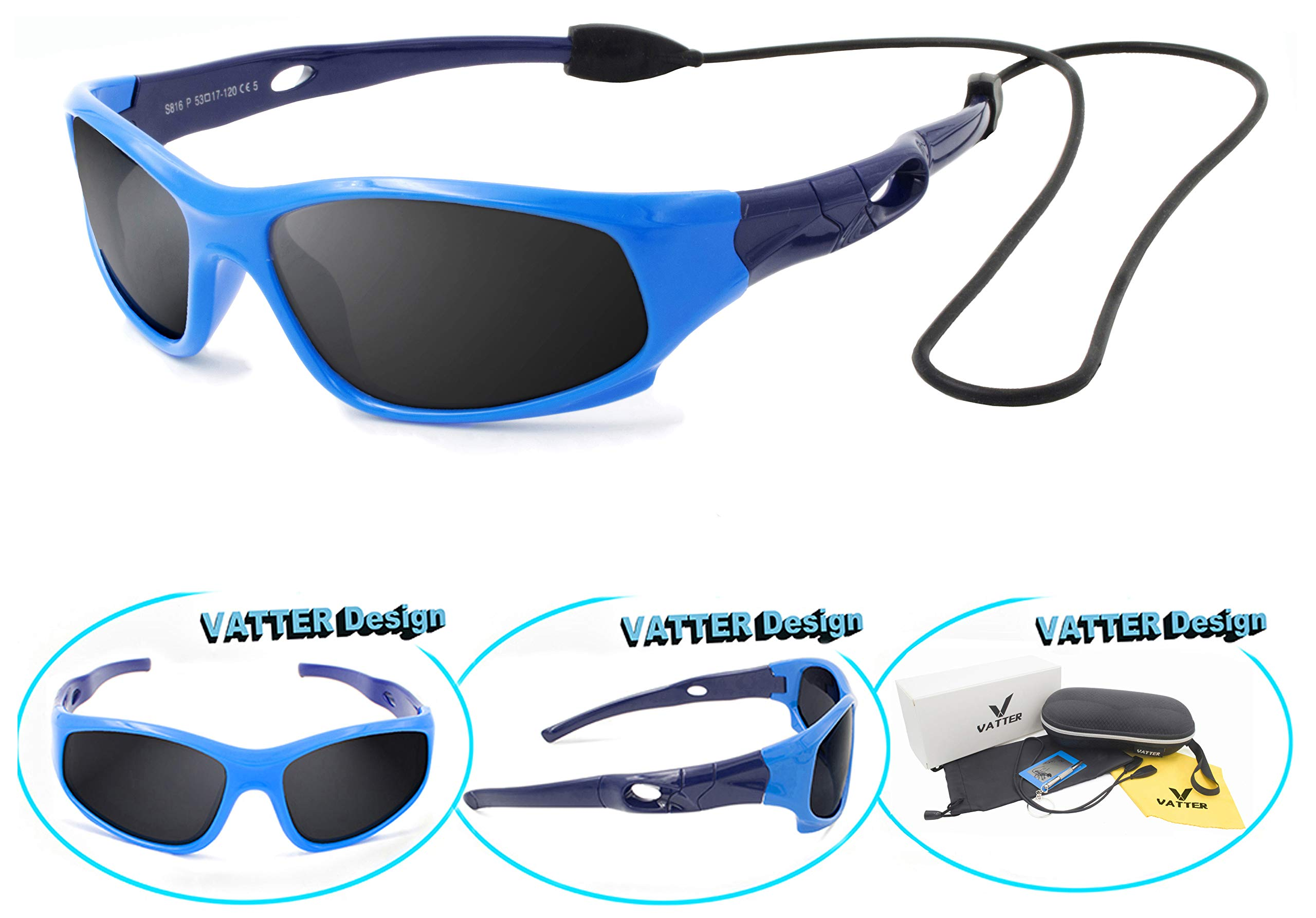 9115ba7fdc32a VATTER TR90 Unbreakable Polarized Sport Sunglasses For Kids Boys Girls Youth  product image