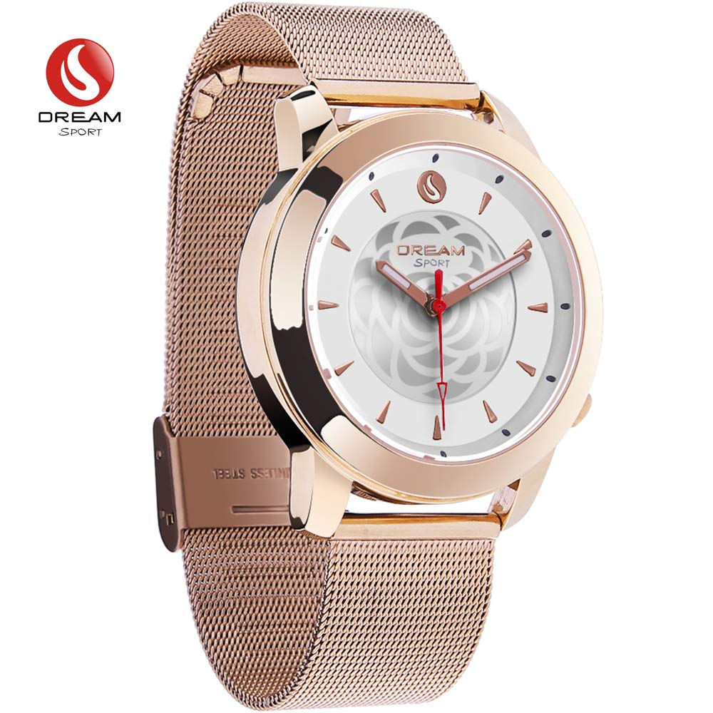 DREAM SPORT Hybrid Smartwatch, Analog Smart Watch with Bluetooth & 3 ATM Waterproof - Activity Fitness Tracker Calories Counter and Sleep Monitor Fashion Smart Watches for Men & Women Rose Gold