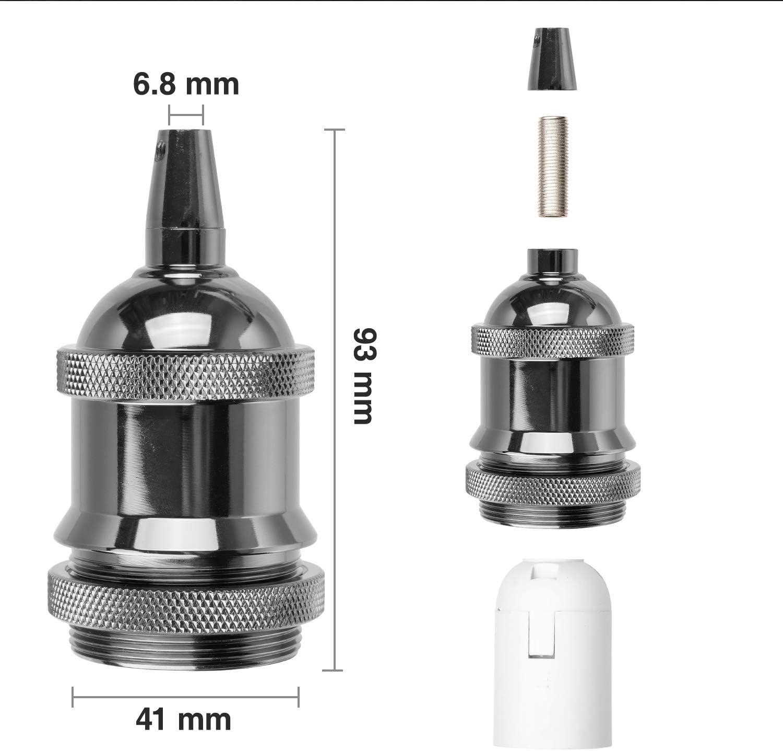 E27 Lamp Holder Peba Lampshade Mountable with Metal Cord Clips Matt Black,3 Pack Bulb Holder Black,Vintage Metal Light Bulb Fittings Edison Screw Light Bulb Socket Adapter
