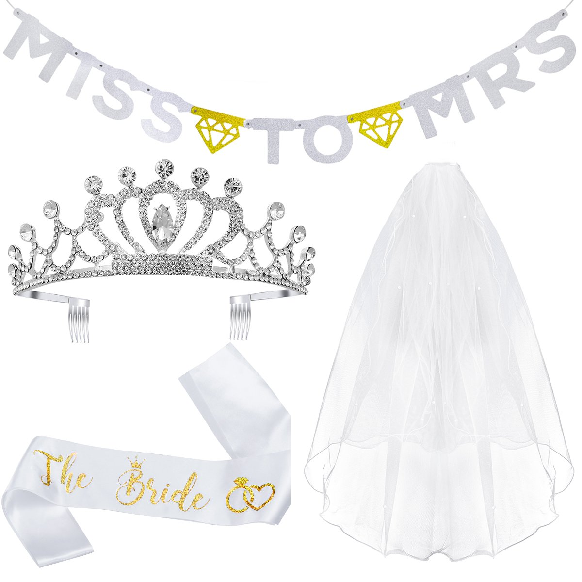 Unomor Bachelorette Party Bridal Shower Veil Sash Tiara and Banner Decorations Kit-Veil with Comb,Glitter Sash, Rhinestone Tiara Crown, Glitter Letter ''Miss to MRS'' Gold and Silver Banner