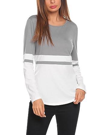 a4127a40b89a2 HAPLICA Womens Petite Color Block Tee Tops Long Sleeve T-Shirts Blouses