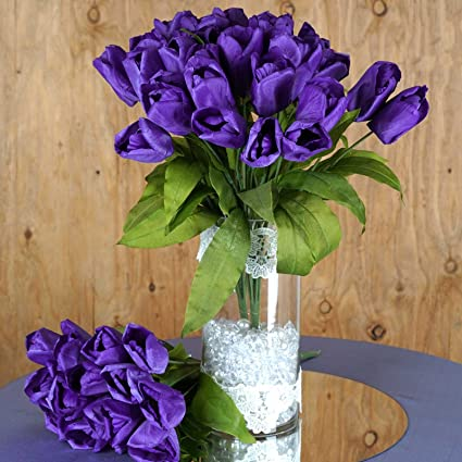 Awesome Balsacircle 56 Purple Silk Tulips Flowers 4 Bushes Artificial Flowers Wedding Party Centerpieces Arrangements Bouquets Supplies Download Free Architecture Designs Estepponolmadebymaigaardcom