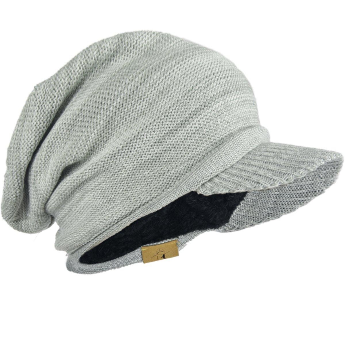 FORBUSITE Men Knit Visor Beanie Hat for Winter B322-Khaki-319