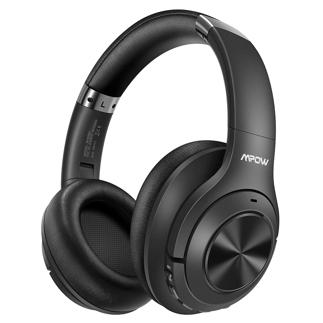 Mpow H21 Hybrid Active Noise Cancelling Headphones, Bluetooth 5.0 Over-Ear Headphones, 40H Playtime Wireless Headphones, Soft Protein Earpads with CVC 6.0 Dual-Mic Noise-Reduction, for Travel TV Work
