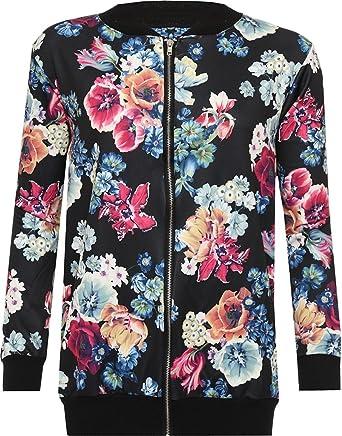 4c3f5c579d3 Rimi Womens Celeb Inspired Plus Size Long Sleeve Floral Print Zip Bomber  Jacket Zip Coat Varsity