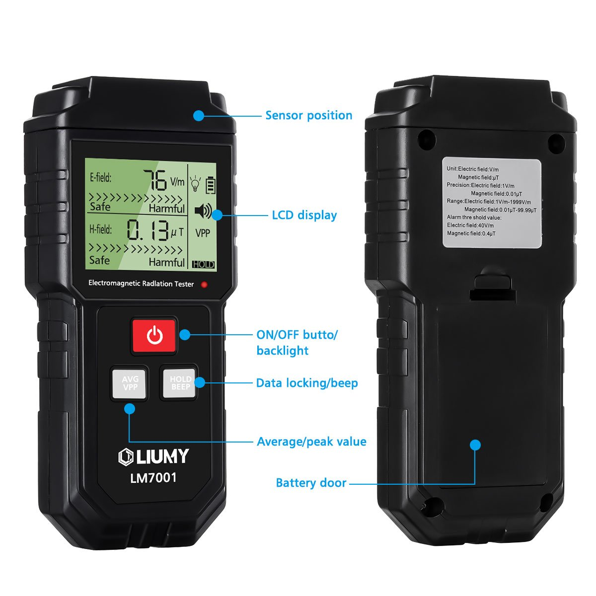 Electromagnetic Field Radiation Detector Emf Meter Sensitive Sensor Liumy Handheld Mini Digital Lcd Sound And Light Alarm