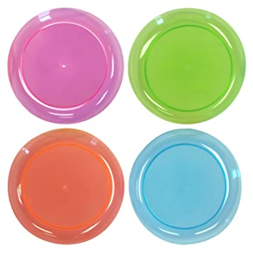 BUYSEASONS Neon Plastic Dinner Plates Assorted Party Accessory