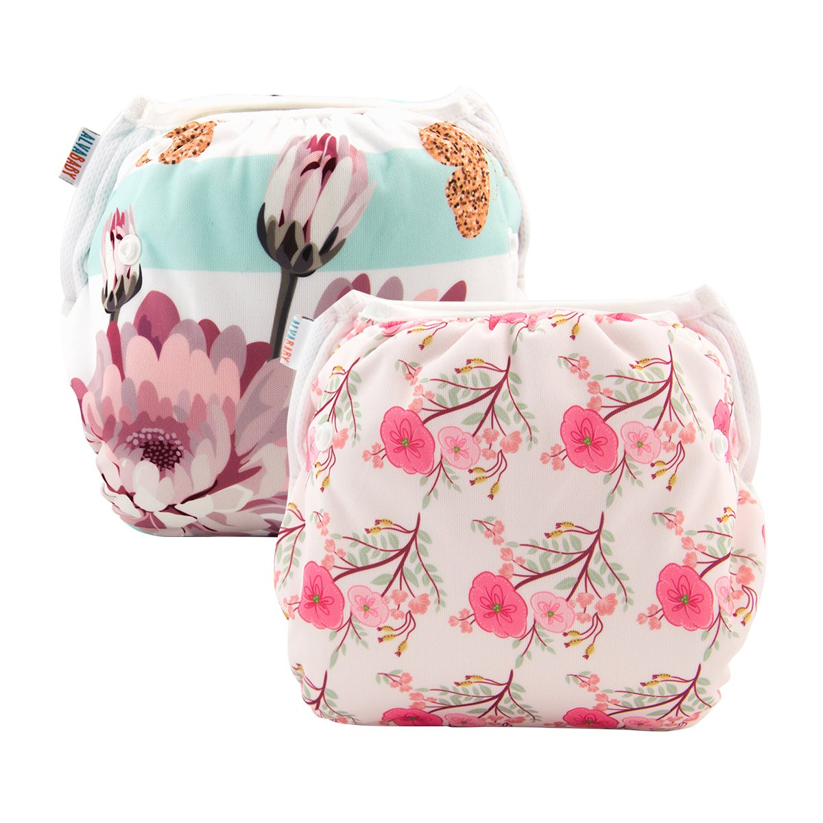 ALVABABY 2pcs Swim Diapers Reuseable Adjustable One Size for Baby Gifts & Swimming Lessons (Flowers, 0-2 Years) YK35-36