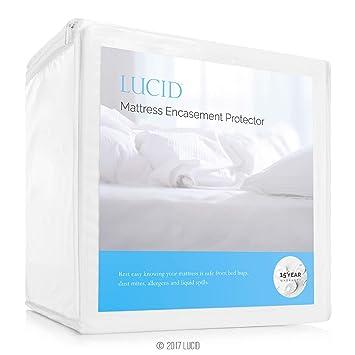 Lucid Protector de colchón Encasement - Completamente rodea colchón para Impermeable, Prueba de alérgenos, Cama Bug Prueba protección -15 años de garantía: ...