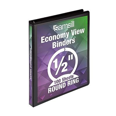 Samsill Economy 3 Ring Binder Organizer 1 Inch Round Ring Binder Customizable...