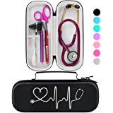 BOVKE Travel Carrying Case for 3M Littmann Classic III, Lightweight II S.E, MDF Acoustica Deluxe Stethoscope - Extra Room for