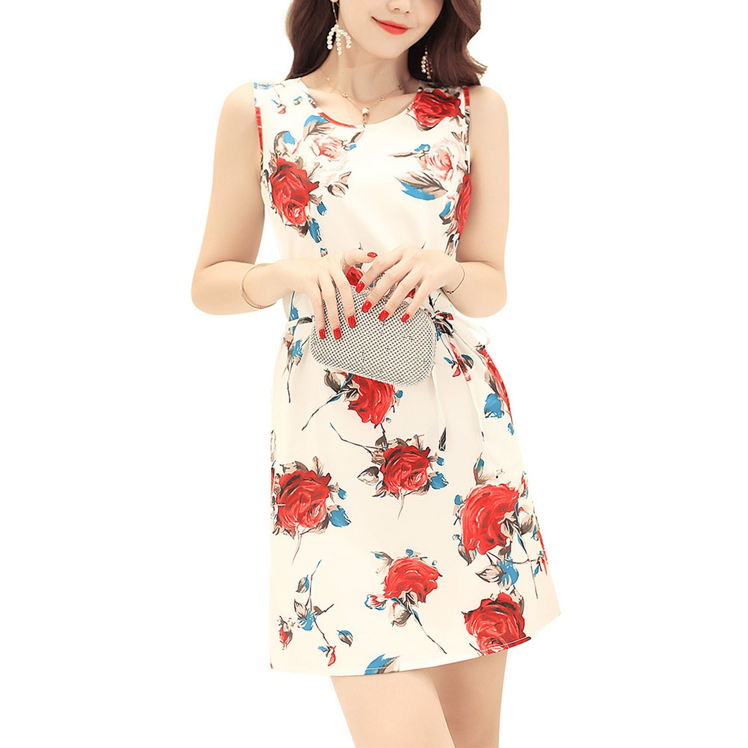 ff77ec0e60 2018 Women s New Amazon Wish Ebay Cross-Border Explosion Models Rose Print  Vest Dress at Amazon Women s Clothing store