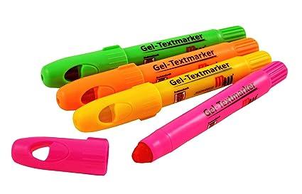 4 Gel-Textmarker // Farbe: je 1x pink orange gr/ün gelb