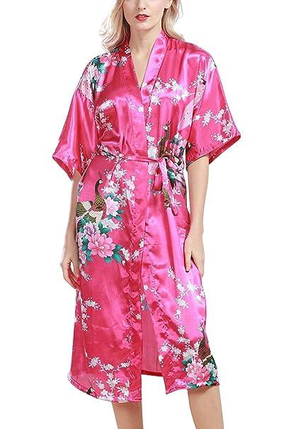 HAINE Albornoz de Mujer Bata Kimono Satinado, Bata de baño Larga y Sedosa Dama de