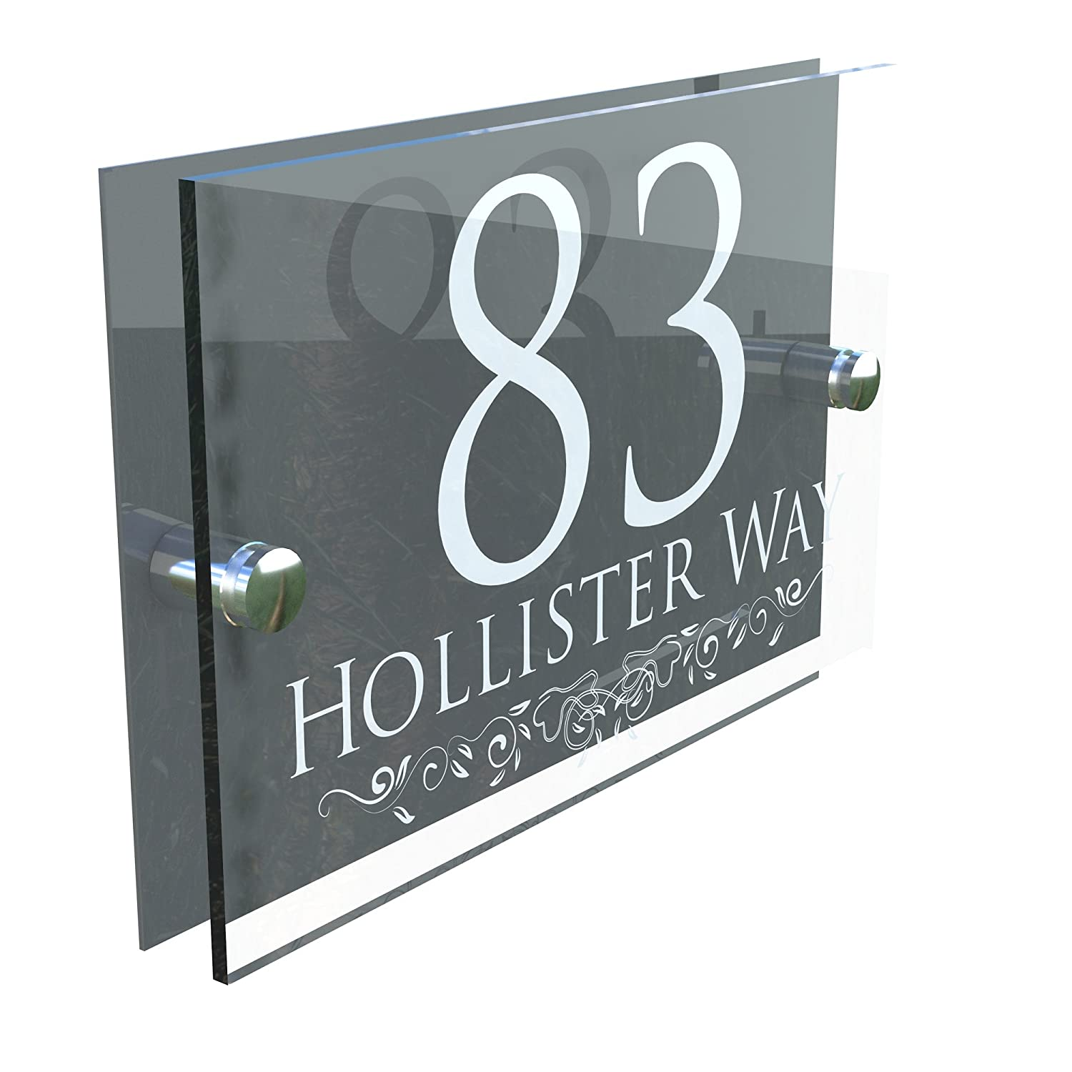 DECORATIVE HOUSE SIGN PLAQUE DOOR NUMBER STREET GLASS EFFECT ACRYLIC ALUMINIUM NAME - Anthracite K Smart Sign Ltd