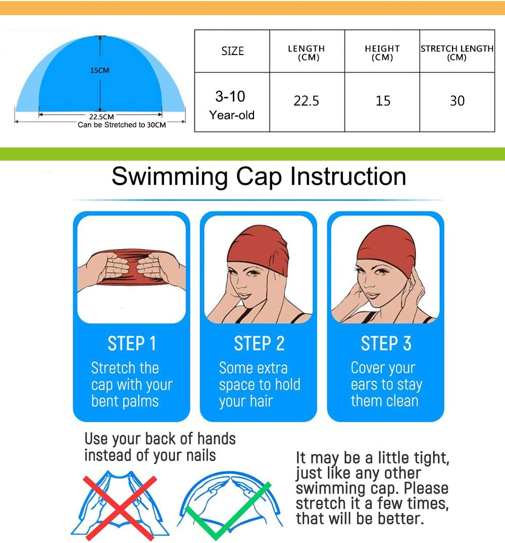 Piscina Bambini di 3-10 Anni Giallo, 23 * 15CM Boomly Bambino Bambini Cartone Animato Cuffia da Nuoto PU Impermeabile Cuffia da Nuoto Cuffie antirumore Cuffia da Bagno per Spiaggia