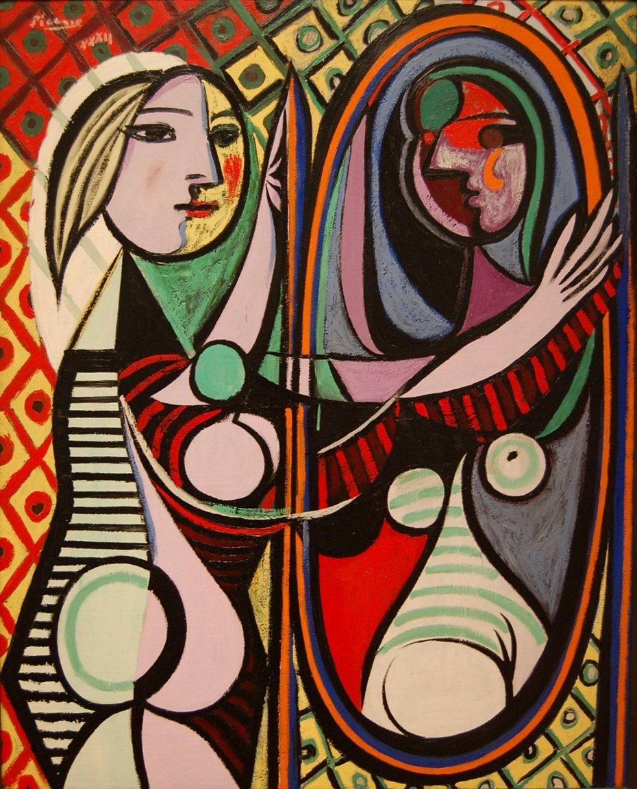 16x20 IN. Colorful Stream-Girl Before a Mirror by Pablo Picasso.100/% Hand Painted.Oil On Canvas.Museum Quality Reproduction.Free Shipping Unframed and Unstretched