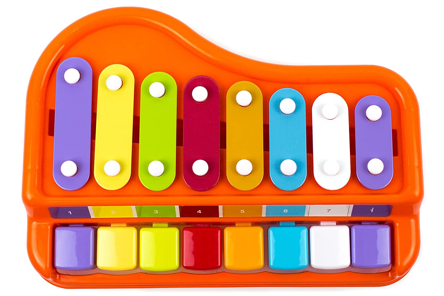 Toddlers Preschoolers Educational Musical Instruments Toyset for Babies Toysery 2 in 1 Piano Xylophone for Kids 8 Key Scales in Clear and Crisp Tones with Music Cards Songbook