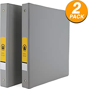 "Emraw Super 1 1/2"" Inch 3-Ring Binder with 2 Side Pockets for Papers and Dividers - Available in Grey - Great for School, Home, Office (2-Pack)"