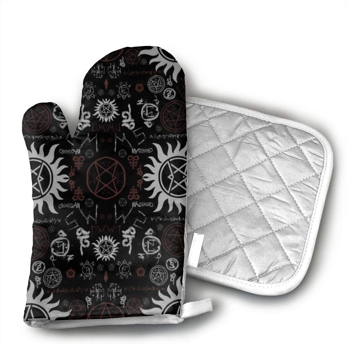 Wiqo9 Supernatural Symbols Black Oven Mitts and Pot Holders Kitchen Mitten Cooking Gloves,Cooking, Baking, BBQ.