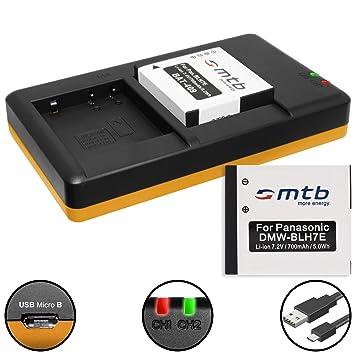 2 Baterías + Cargador doble (USB) para DMW-BLH7(E) / Panasonic Lumix DMC-GF7 / DMC-GM1, GM5 / DMC-LX15 / DC-GX800 - contiene cable micro USB